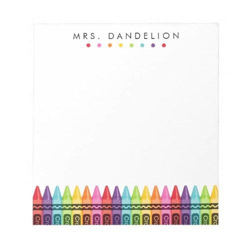 Rainbow Crayons  Kindergarten Teacher Notepad