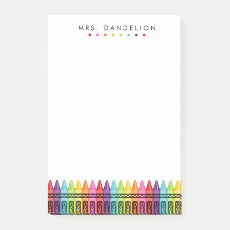 Rainbow Crayons | Kindergarten Teacher Post-it Notes