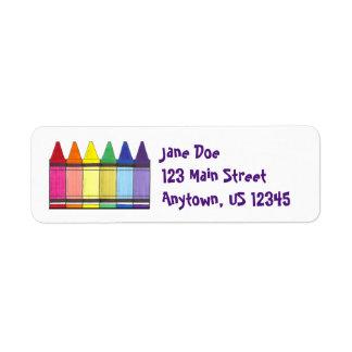 Rainbow Crayons Return Address Labels