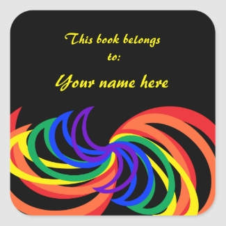 Rainbow Crescent Abstract Colors Bookplate