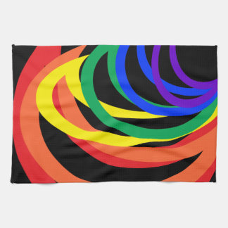 Rainbow Crescent Colors Abstract Kitchen Towel