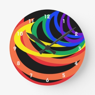 Rainbow Crescent Colors Abstract Pattern Clock