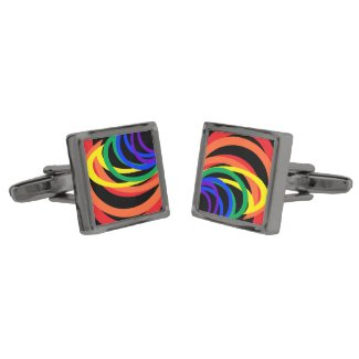 Rainbow Crescent Moons Abstract Colors Cufflinks