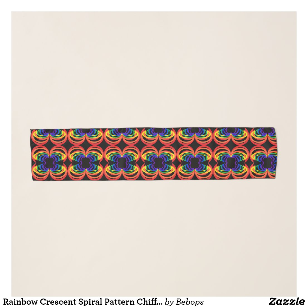 Rainbow Crescent Spiral Pattern Chiffon Scarf