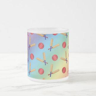 Rainbow cricket pattern 10 oz frosted glass coffee mug