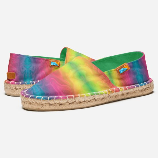 [Rainbow Crinkle] Bright Tie-Dye Gradient Stripes Espadrilles
