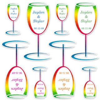 [Rainbow Crinkle Wedding] Champagne Glass Vinyl Sticker
