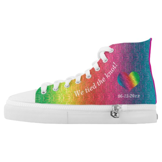 [Rainbow Crinkle Wedding] Colorful Heart Bride High-Top Sneakers