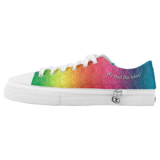 [Rainbow Crinkle Wedding] Colorful Heart Groom Low-Top Sneakers