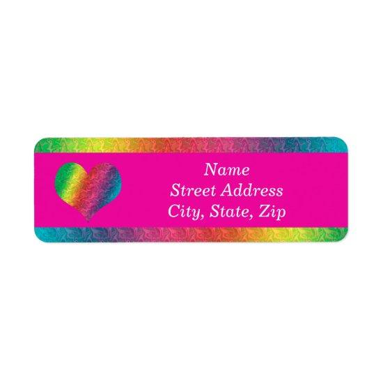 [Rainbow Crinkle Wedding] Colorful Heart Pink Label