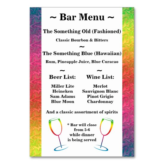 [Rainbow Crinkle Wedding] Heart Bar Menu Green Table Number