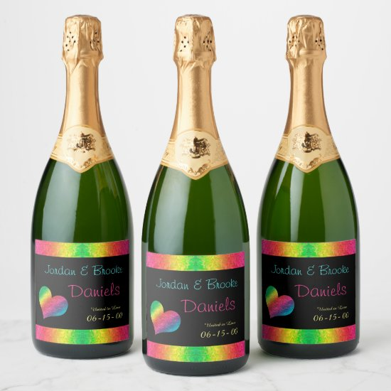 [Rainbow Crinkle Wedding] Heart Butterfly Black Champagne Label