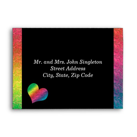 [Rainbow Crinkle Wedding] Heart Butterfly Black Envelope