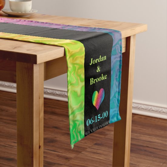 [Rainbow Crinkle Wedding] Heart Butterfly Black Long Table Runner