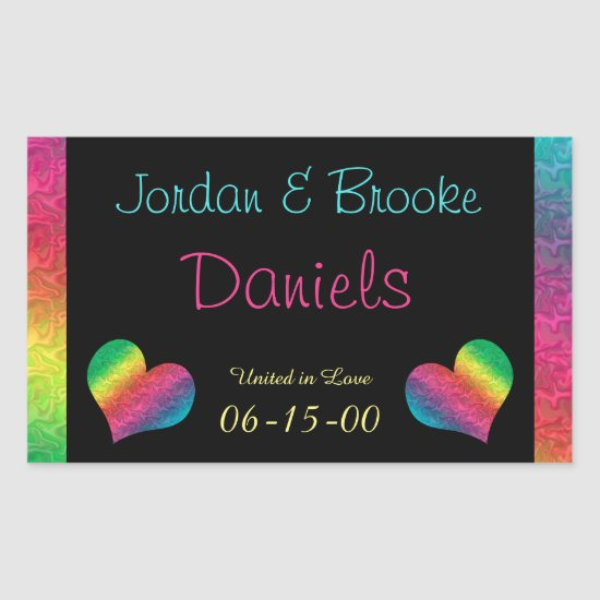 [Rainbow Crinkle Wedding] Heart Butterfly Black Rectangular Sticker