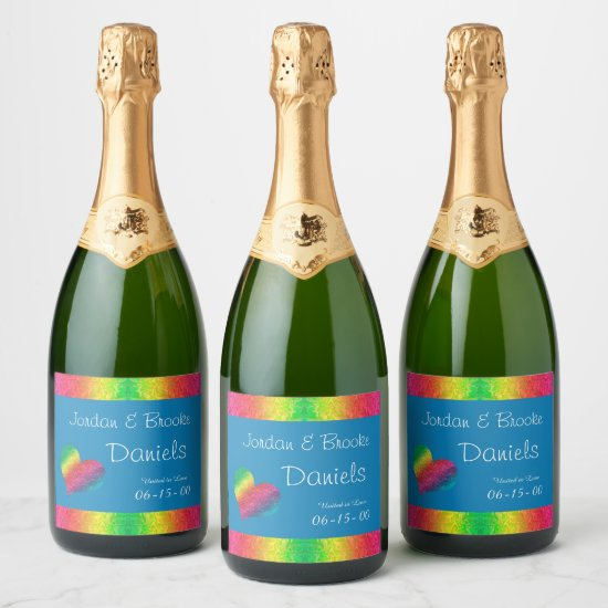 [Rainbow Crinkle Wedding] Heart Butterfly Blue Champagne Label