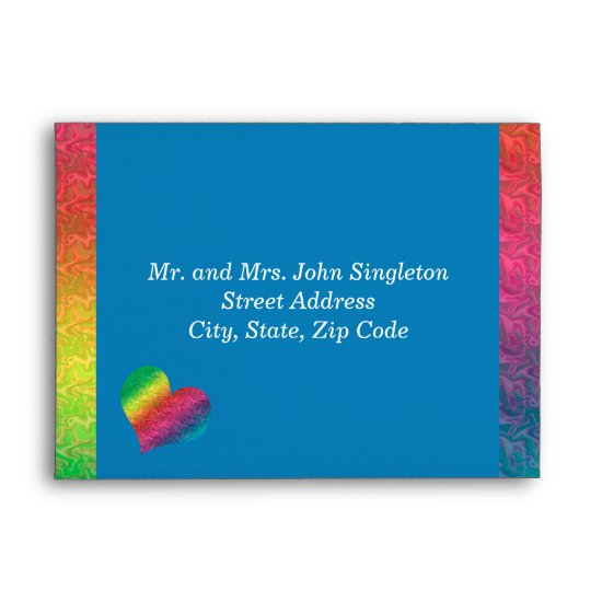[Rainbow Crinkle Wedding] Heart Butterfly Blue Envelope