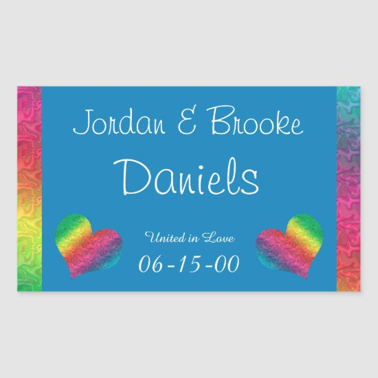 [Rainbow Crinkle Wedding] Heart Butterfly Blue Rectangular Sticker