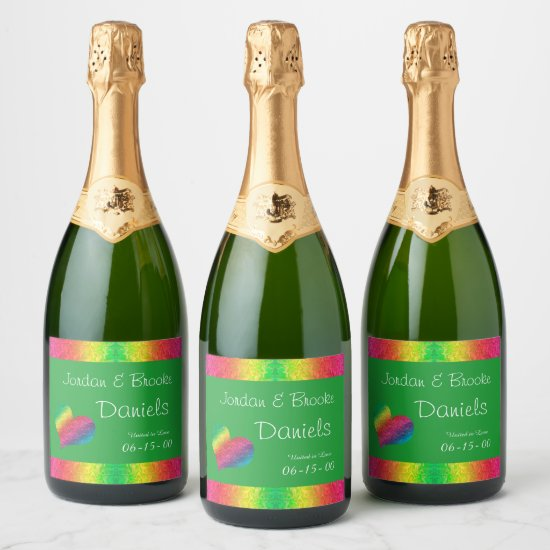 [Rainbow Crinkle Wedding] Heart Butterfly Green Champagne Label