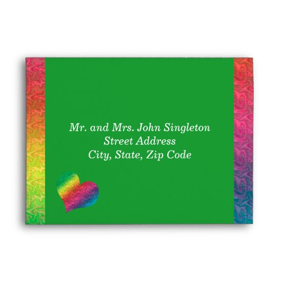 [Rainbow Crinkle Wedding] Heart Butterfly Green Envelope