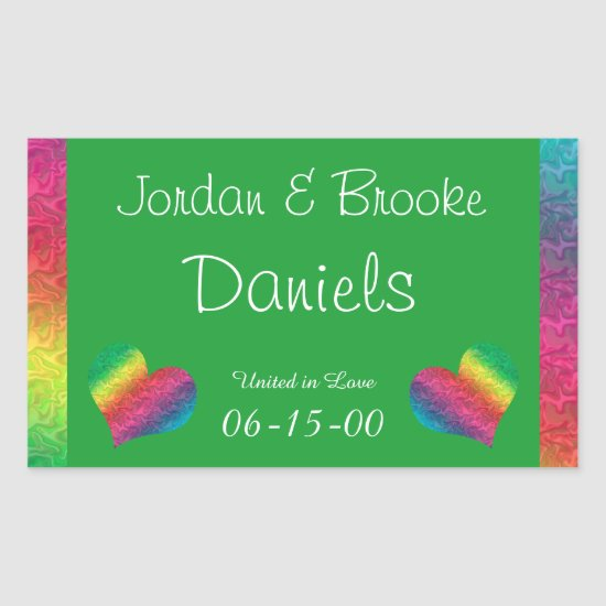 [Rainbow Crinkle Wedding] Heart Butterfly Green Rectangular Sticker