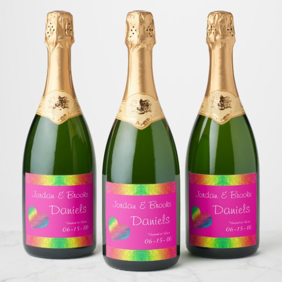 [Rainbow Crinkle Wedding] Heart Butterfly Pink Champagne Label