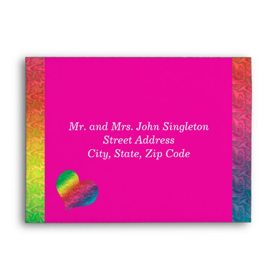 [Rainbow Crinkle Wedding] Heart Butterfly Pink Envelope