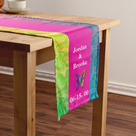 [Rainbow Crinkle Wedding] Heart Butterfly Pink Long Table Runner