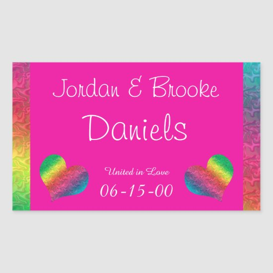 [Rainbow Crinkle Wedding] Heart Butterfly Pink Rectangular Sticker