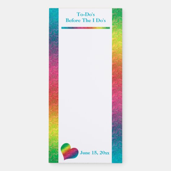 [Rainbow Crinkle Wedding] Heart Butterfly To-Do Magnetic Notepad