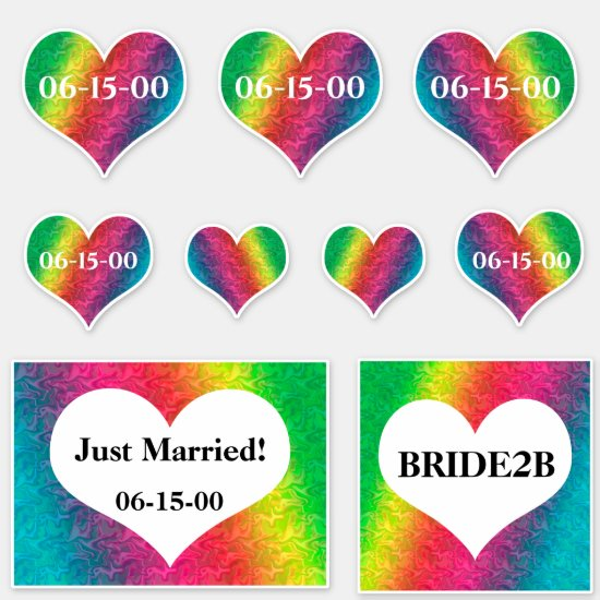 [Rainbow Crinkle Wedding] Hearts Date Vinyl Sticker