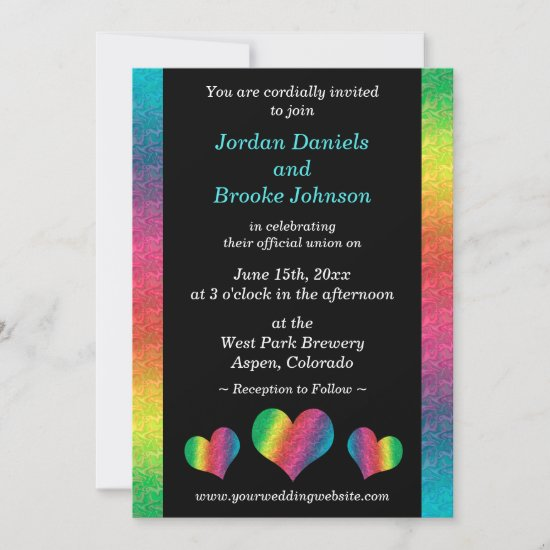 [Rainbow Crinkle Wedding] Hearts Modern Black