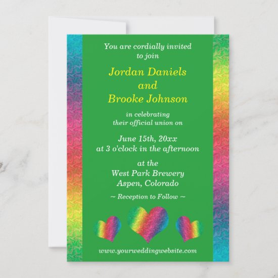 [Rainbow Crinkle Wedding] Hearts Modern Green