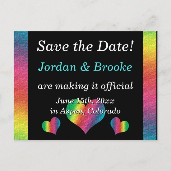 [Rainbow Crinkle Wedding] Hearts Postcard Black