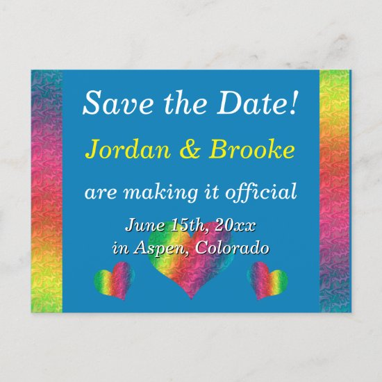 [Rainbow Crinkle Wedding] Hearts Postcard Blue