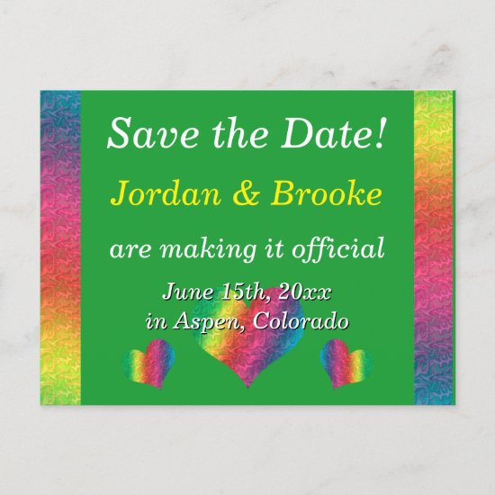 [Rainbow Crinkle Wedding] Hearts Postcard Green