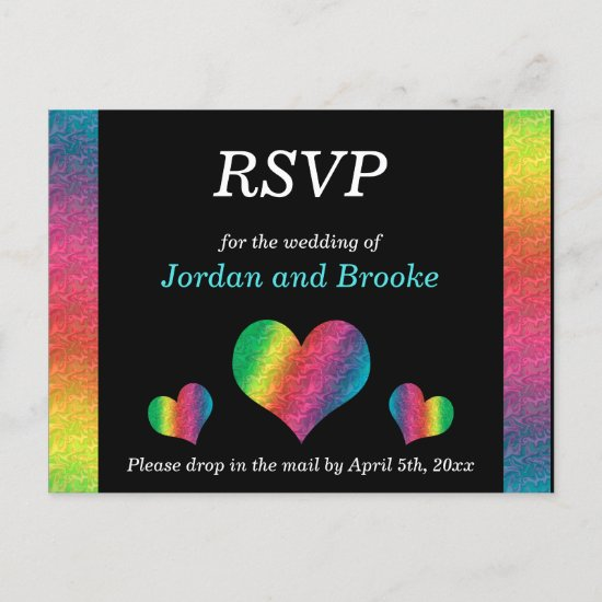 [Rainbow Crinkle Wedding] Hearts RSVP Card Black