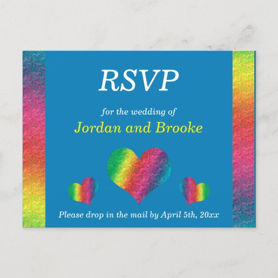 [Rainbow Crinkle Wedding] Hearts RSVP Card Blue