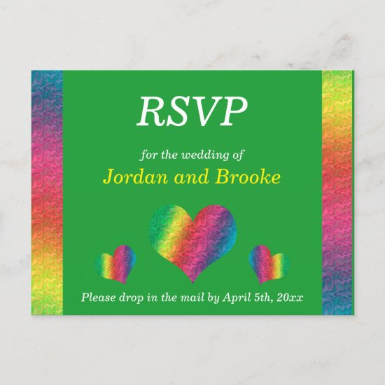 [Rainbow Crinkle Wedding] Hearts RSVP Card Green