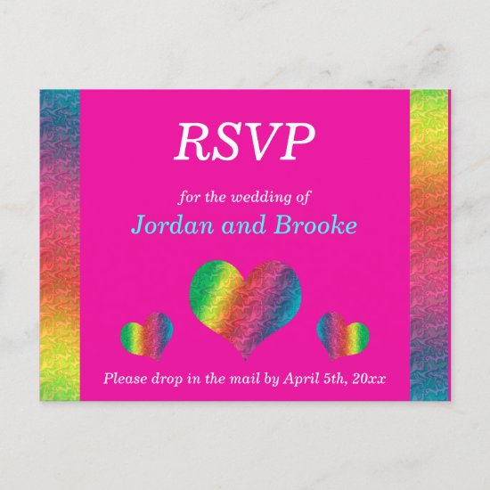 [Rainbow Crinkle Wedding] Hearts RSVP Card Pink
