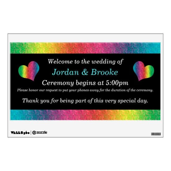 [Rainbow Crinkle Wedding] Unplugged Welcome Sign Wall Decal