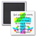 RAINBOW CROSS AND BUTTERFLY SERENITY PRAYER DESIGN 2 INCH SQUARE MAGNET