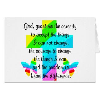 RAINBOW CROSS AND BUTTERFLY SERENITY PRAYER DESIGN CARD