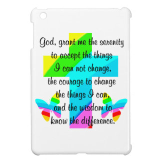 RAINBOW CROSS AND BUTTERFLY SERENITY PRAYER DESIGN CASE FOR THE iPad MINI