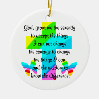 RAINBOW CROSS AND BUTTERFLY SERENITY PRAYER DESIGN CERAMIC ORNAMENT