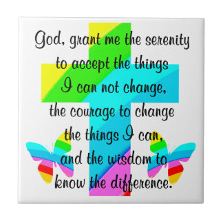 RAINBOW CROSS AND BUTTERFLY SERENITY PRAYER DESIGN CERAMIC TILE