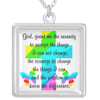 RAINBOW CROSS AND BUTTERFLY SERENITY PRAYER DESIGN SQUARE PENDANT NECKLACE