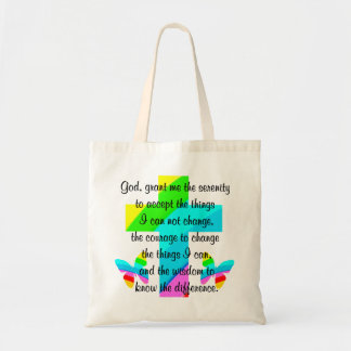 RAINBOW CROSS AND BUTTERFLY SERENITY PRAYER DESIGN TOTE BAG