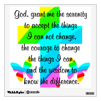 RAINBOW CROSS AND BUTTERFLY SERENITY PRAYER DESIGN WALL DECAL