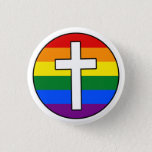 """Rainbow Cross Button<br><div class=""""desc"""">Great for both GLBT Christians and Christian allies.  This design declares that sexuality and gender identity neither stop people from loving God nor stop God from loving people.</div>"""